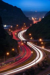 Ngauranga gorge (Centennial Highway) - Light Trails