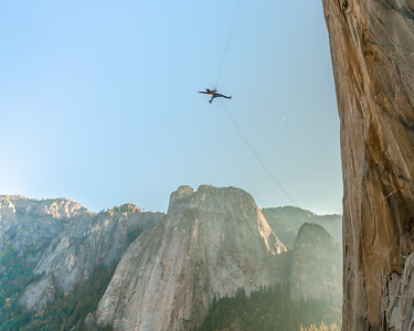An giant rope swing. Yosemite National Park, California.