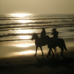 Gauchos at the beach. Arica, Chile, South America.