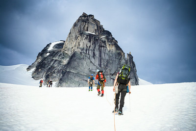 Approaching Pigeon Spire from the Bugaboo Glacier. Bugaboo Provincial Park, British-Columbia