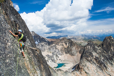 Climbing on Eastpost Spire. Bugaboo Provincial Park, British-Columbia.