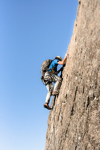 Climbing in Yosemite National Park, California.
