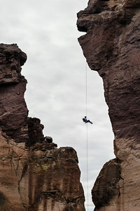 "A free hanging rappel down ""Monkey Face"". Smith Rocks State Park, Oregon."