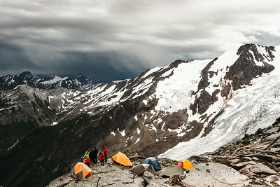 Waiting for the hail storm to arrive. 1mm of nylon between you and a storm isn't much! Bugaboo Provincial Park, British-Columbia.