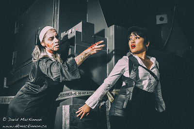 A teaser image from last weekend's photoshoot with the talented Christine Hager as our zombie nun and Carmen C Camacho as our film-noire cop. Makeup and prosthetics were provided by Rosalind Chen.
