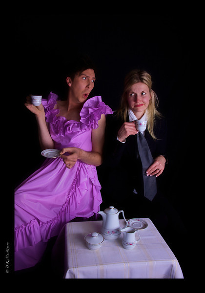 """She: """"I... I have a confession to make. I don't like tea either. Never touch the stuff.""""<br /> He: """"No!"""""""