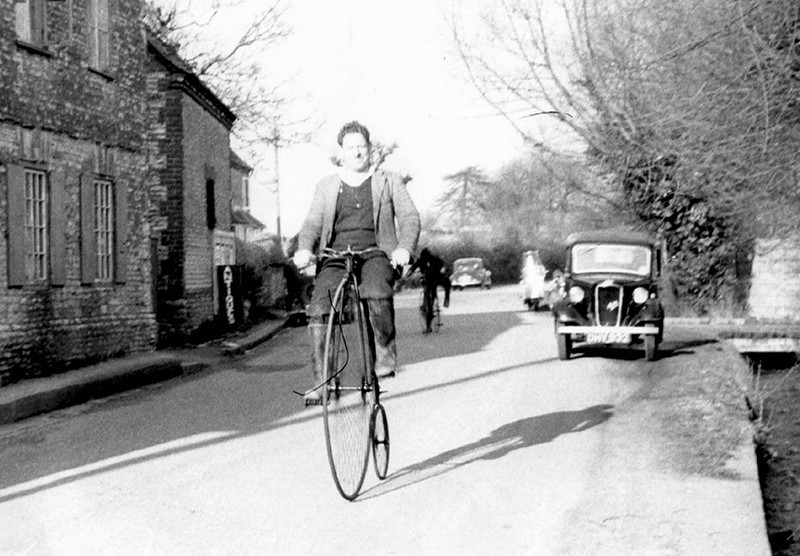 "<font size=3><u> - Ned Passey on Pennyfarthing c.1953 - </u></font> (BS0528) See ""Benson – A Century of Change"" page 236 and Appendix C.  The Club still rides the bikes (2010) on the 2nd Sunday of each July."