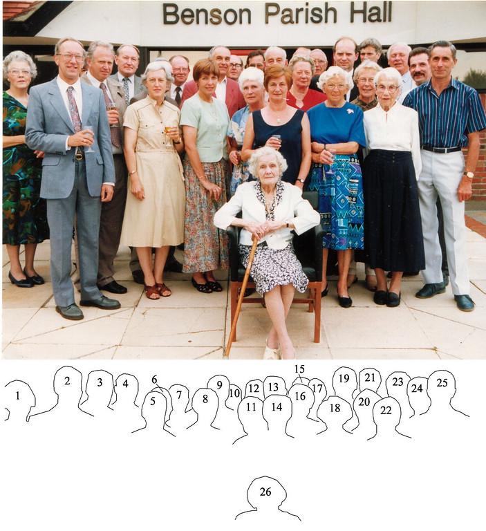 <center><font size=3><u> - Group outside Parish Hall -  </u></font> (BS1158)  1. Judith Pennick, 2. Peter Pennick, 3. Ian Leppard, 4. Cllr Tony Crabbe, 5. Elizabeth Leppard, 6. David Belcher, 7. Don Fletcher, 8. Jean Harcourt, 9. Geoff Harcourt, 10. ?, 11. Joyce Clarke, 12. Ben Belcher, 13. John Taylor, 14. Deidre Anderson, 15. ?, 16. Helen Taylor, 17. Bert Rye, 18. Iris Chamberlain, 19. Jim Merrit, 20. Anne Millar, 21. Philip Chamberlain, 22. Enid Brighting, 23. Peter Clarke, 24. Tom Brant, 25. Peter Keeble, 26. Charlotte Bloomfield. </center>