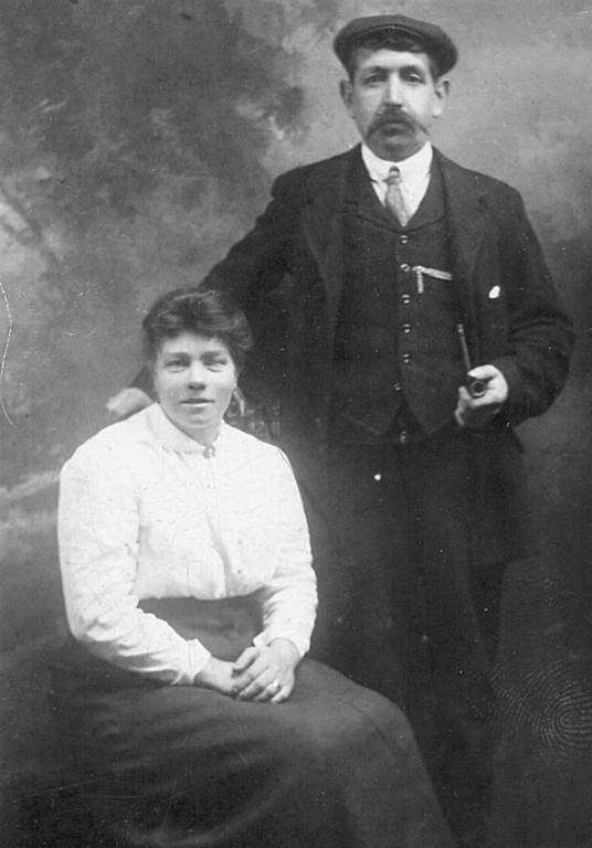 <font size=3><u> - Henry and Rose Lane -  </u></font> (BS0277)  David Lane's grandfather's eldest brother Henry and his wife Rose,  nee Rolls.   Married 1897.  David Lane's grandmother threw Henry out of the village because he was a heavy drinker.
