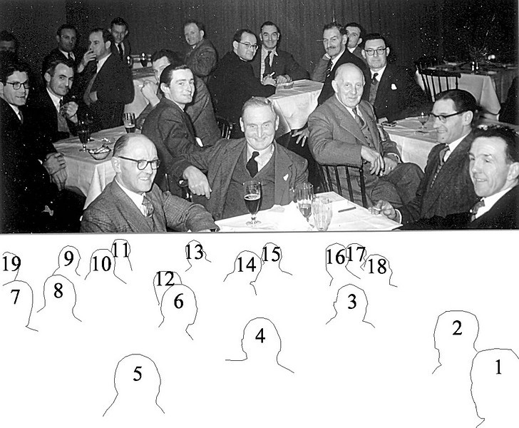 <center><font size=3><u> - Men's Society, 7 Feb 1957 -  </u></font> (BS0289)  1. John Cherrill (Builder & Church Choir), 2. ?, 3. Arthur Jenkins (Wallingford Business Man, Chairman Benson Parish Council & Peter Clarkes Grandfather), 4. Dick Wells (Marjorie Godman's father, Builder, Church Warden and Choir), 5. Len Snuggs (Manager Slaughters Store, now Somerfields, Choir & Comedian in Village Concerts), 6. Denis Bloomfield (Church Warden, left legasy for local organisations), 7. Phil Coggins (Builder, Bell Ringer & Roke & Benson Band), 8. Jim Goodman (Bell Ringer, Church Warden & Choir), 9. ?, 10. ?, 11. ?, 12. ?, 13. ?, 14. ?, 15. ?, 16. ?, 17. ?, 18. Mr Thatcher (Chairman St Helens Mens Society & Manager Champions Store, Wallingford), 19. ? </center>