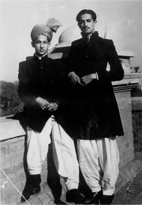 Sahibaza Mirza Tahir Ahmad (Left) with Nawab Mansoori Sahib