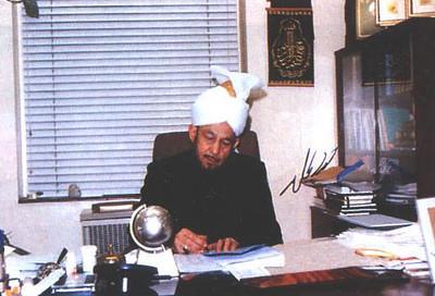 Hazrat Mirza Tahir Ahmad, Khalifatul Masih IV in his office