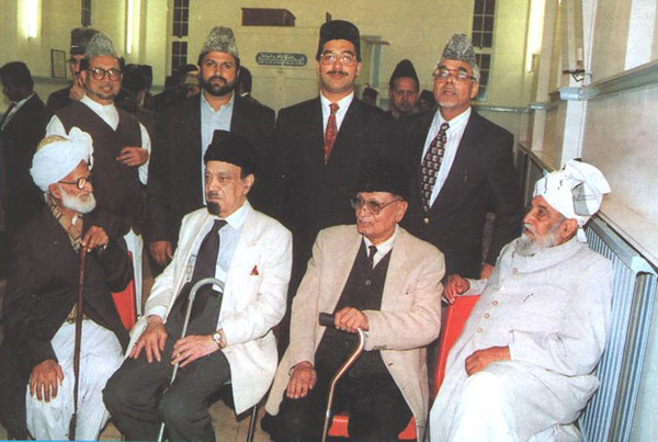From right to left, Sheikh Mubarik Ahmed, Mirza Mansoor Ahmad, M M Ahmad, amd Mirza Abdul Haq Sahib
