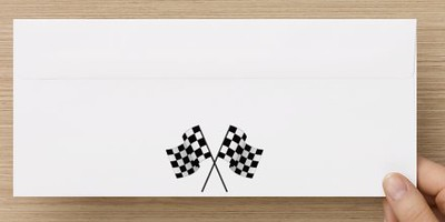 #10 Envelope - Reverse Side - Checkerd Flags - Racing Logo