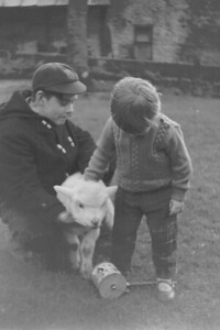 Michael Philips with Carolyn and his Pet Lamb,