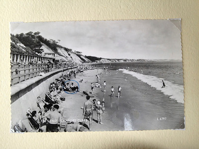 Another postcard from earlier stationers showing all of us on the beach at Canford Cliffs