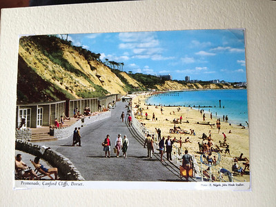 A post card of Canford Cliffs Beach spotted in a stationary store with Mum & Carolyn on the beach in bottom RH corner