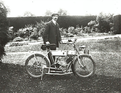 Probably the culprit that started the motorcycle addiction my grandfather Robert Bisco around 1915 with what I believe to be a Phelan & Moore Motocycle.