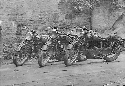 The three Velocette MAC's owned by the Bisco brothers,Phil, Bob & John. Mid to late 40's era!