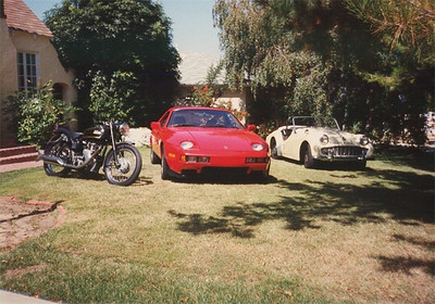 At home in California this picture was taken in 1992. The Porsche 928 I rebuilt from a damaged vehicle, The Velo came with me from the UK and the Triumph TR3A I picked up in California.