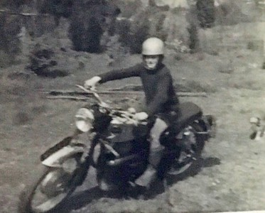 Way before Ian was riding motorbikes John Fowles took this picture of Ian sat on Johns trusty Velocette (note the side stand is down).