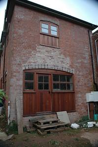 The garage door becomes a patio door