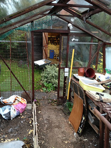 The beginning of the epic task of clearing out the junk from Dad's shed and greenhouse.
