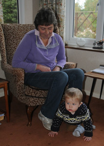 My brother Neil's wife Bet and grandson little Jack, not quite walking but at that adventurous age.