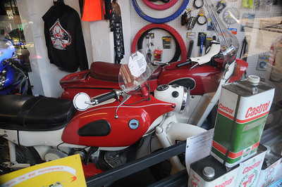 A small Motorcycle shop in Newent on Church st. had an assortment of 60's bikes for sale.