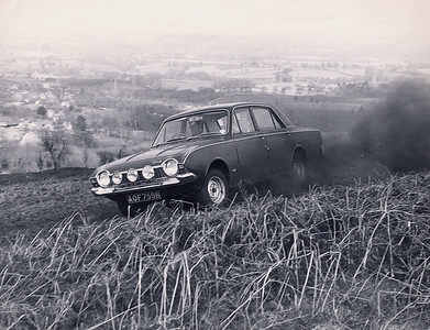 My friend John Goldstone powers his Ford Corsair through a time trial on May Hill