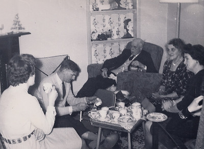 A family gathering at Christmas in the lounge at the Post Office. Grandparents Bisco and my Uncle Phil (dads brother) and wife Margarette plus my Mum with cuppa tea in hand
