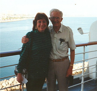 Anne with an old family friend (Uncle Fred) whom we visited while he was on vacation from UK. This was taken on the Queen Mary in Long Beach
