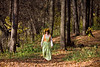 Woman in autumn forest