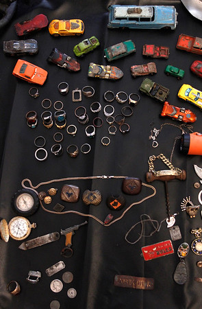 Ted Riley and Scott Weeks metal detecting collections that was featured in the April 14, 2016 Perspectives page of the Ottumwa Courier. Riley has been collecting for roughly four years and Weeks for six.