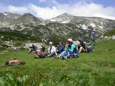Enjoying a break in the Pirin Mtn's.