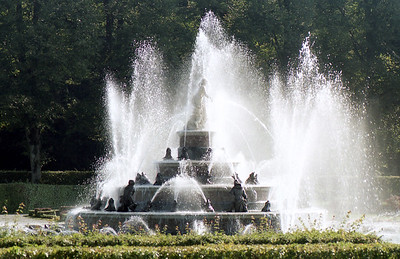 The gardens behind the castle were built to resemble the park of Versailles.