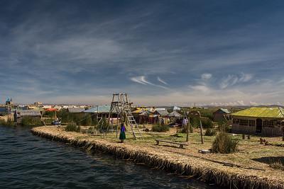 The floating island of Los Uros on Lake Titicaca - Puno, Peru.