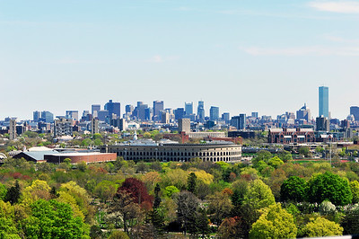Looking at Boston beyond Harvard Stadium from Cambridge.