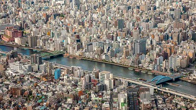 Tokyo buildings and Sumida River