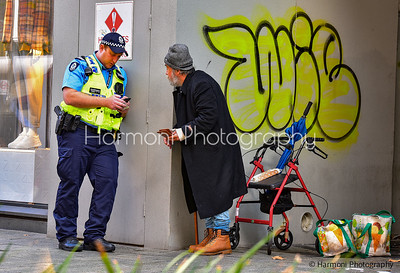 A day in Perth city life.  Very well dressed homeless man, which is a nice change.
