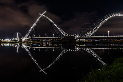 Reflection of Matagarup Bridge.