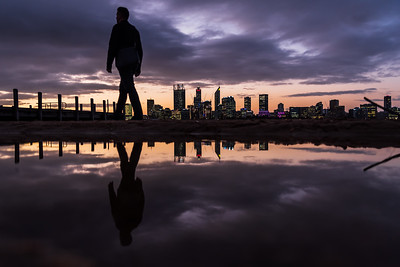 Reflection of Perth City skyline at dusk.
