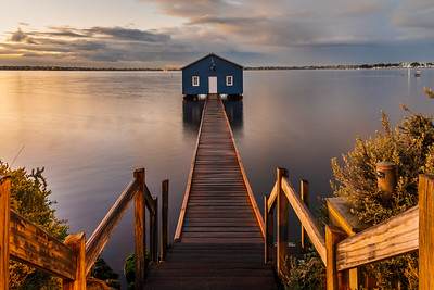 Crawley Edge Boatshed at sunrise.