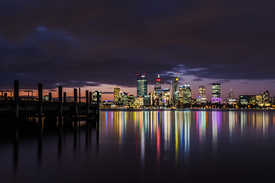 View of Perth City skyline at dusk.