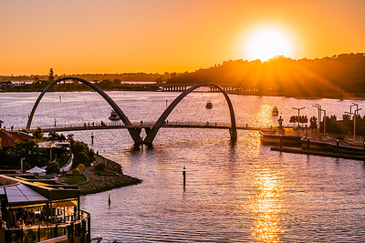 View of Elizabeth Quay Bridge at sunset.