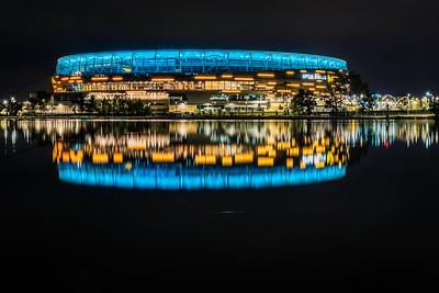 Reflection of Optus Stadium.