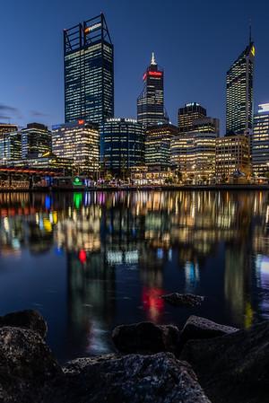 Reflection of Perth's CBD skyscrapers.