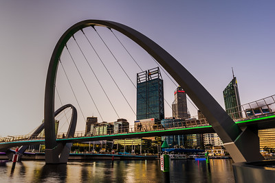 View of the Elizabeth Quay Bridge and Perth City Skyscrapers.