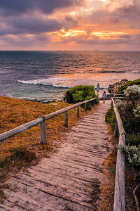 Cottesloe Beach at sunset.