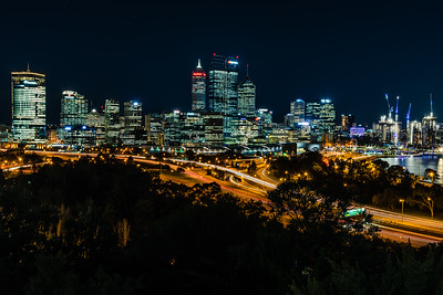 View Perth City Center from Kings Park at night.